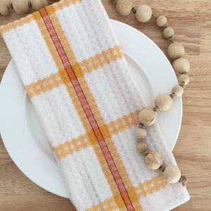 Set of 3 Vintage Orange, White and Yellow Kitchen Tea Towels 100% Cotton